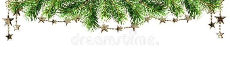 与绿色杉木枝杈和诗歌选的圣诞节边界 免版税库存照片