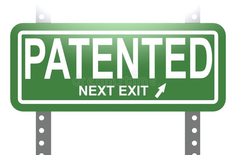 与绿色标志板的给予专利的词隔绝了 库存例证