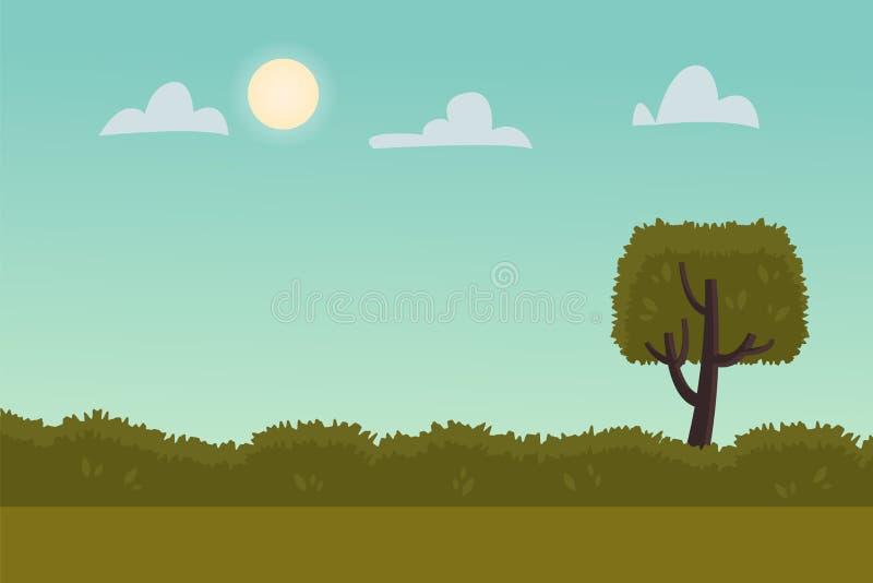 与绿色树的风景在晴朗的天气的背景和灌木 r E 皇族释放例证