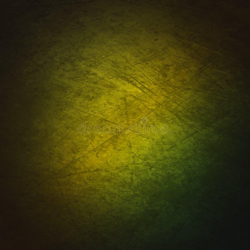 与绿色梯度的Grunge背景 库存例证