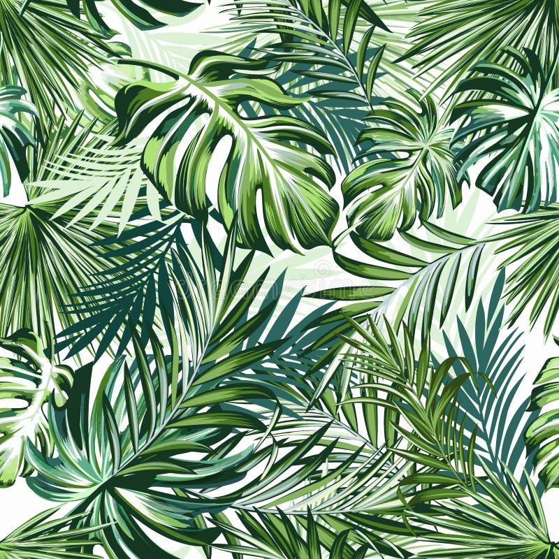 与绿色棕榈叶的美好的热带样式织品设计的设计理想的 皇族释放例证