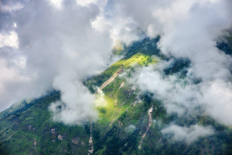 与绿色森林的山云彩的在阴暗天 库存图片