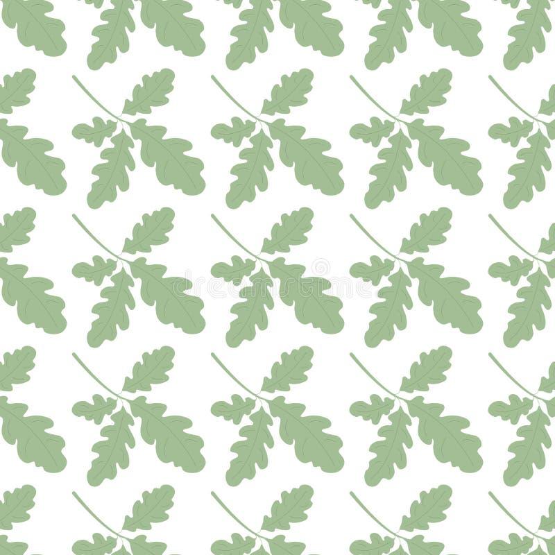 与绿色橡木叶子的无缝的样式 与植物的夏天自然样式 适用于背景,婚姻的邀请 库存例证