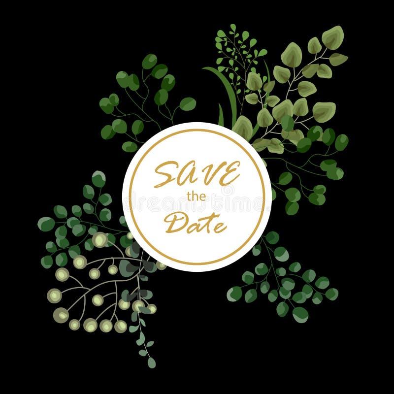 与绿色水彩蕨的传染媒介卡片花卉设计留下热带森林装饰框架,边界 典雅的秀丽逗人喜爱的问候 皇族释放例证