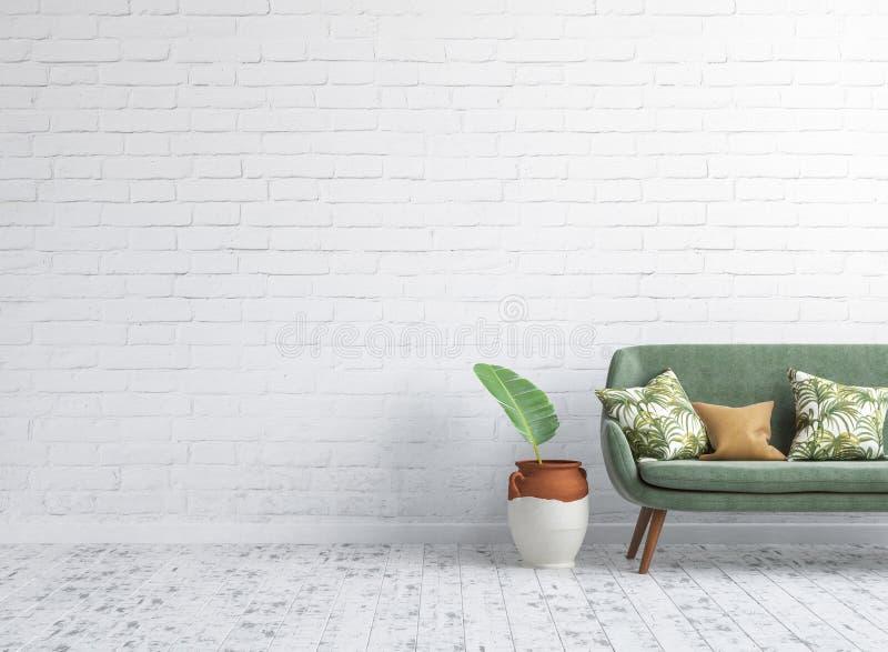 与绿色沙发的客厅内部在背景的白色砖墙嘲笑 向量例证