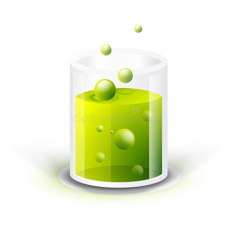 与绿色流体的玻璃船 库存例证