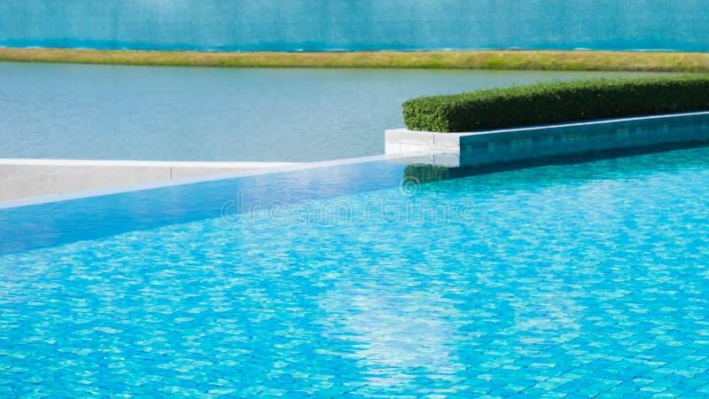 与绿色灌木的水表面在游泳场附近 库存照片