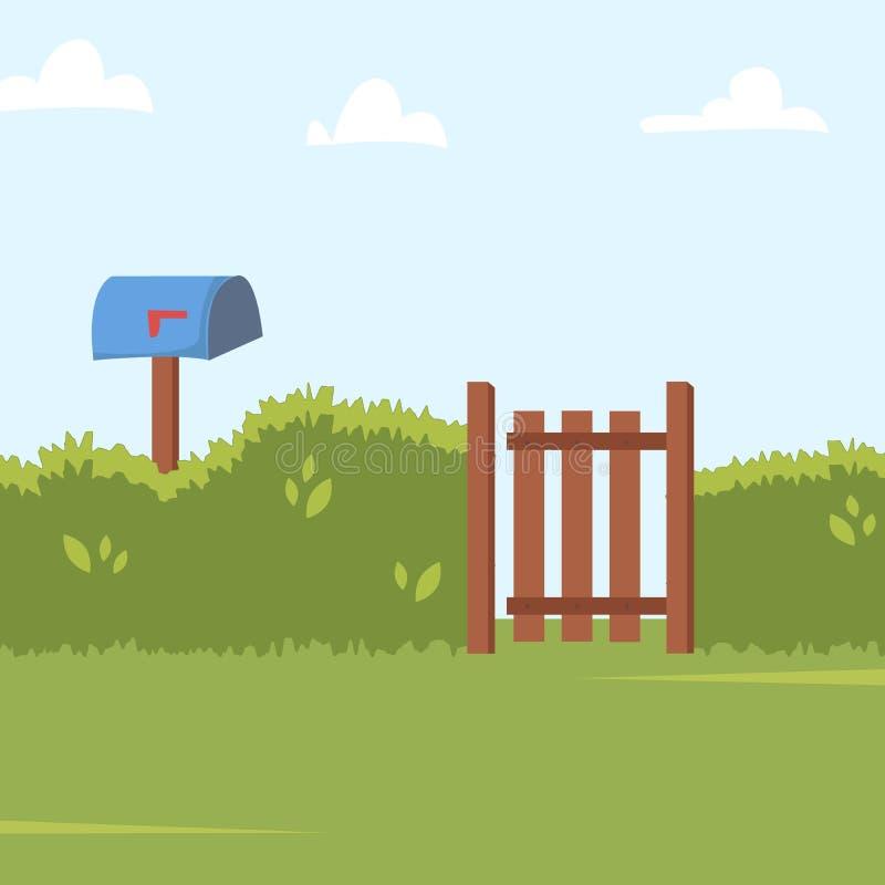 与绿色灌木篱芭、木旁边门和岗位箱子的家庭后院背景 r 库存例证