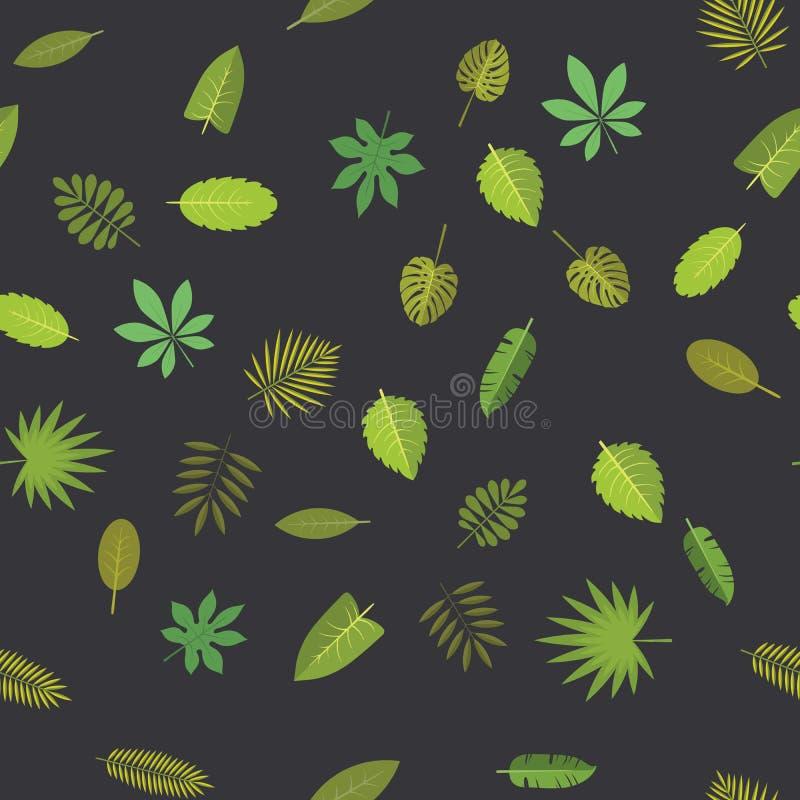 与绿色热带叶子的无缝的样式 花卉背景,在黑色的传染媒介例证 库存例证