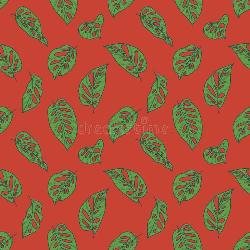 与绿色热带Monstera瑞士乳酪植物叶子图画的无缝的样式在明亮的红色背景 库存例证