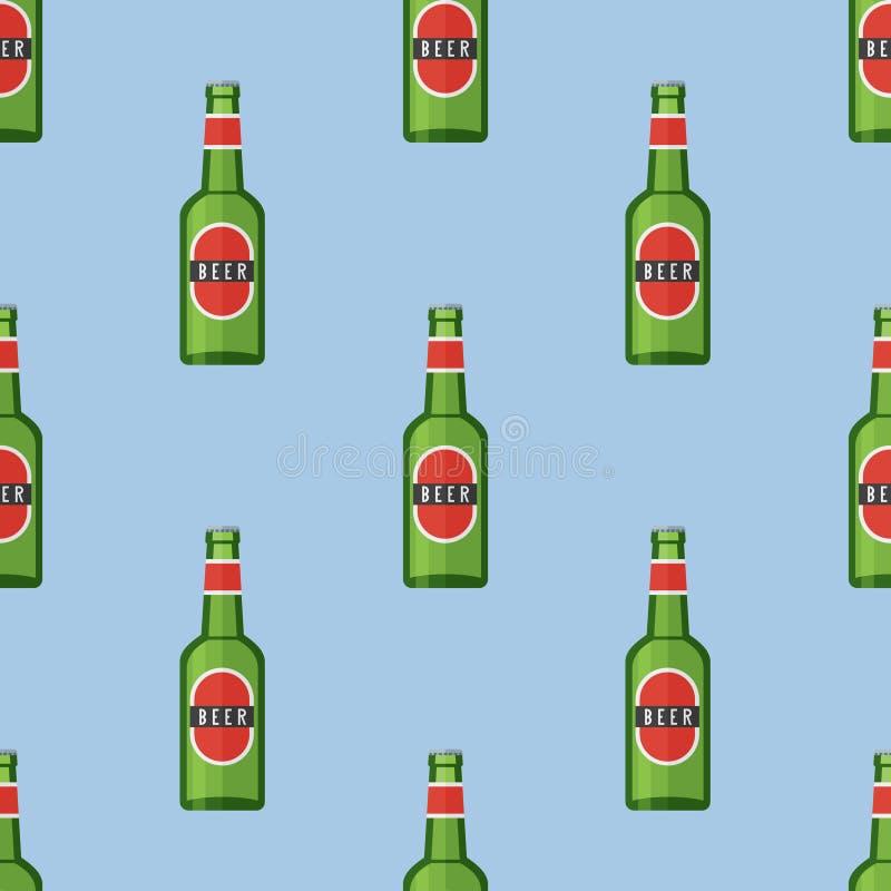 与绿色瓶的无缝的样式啤酒 库存例证