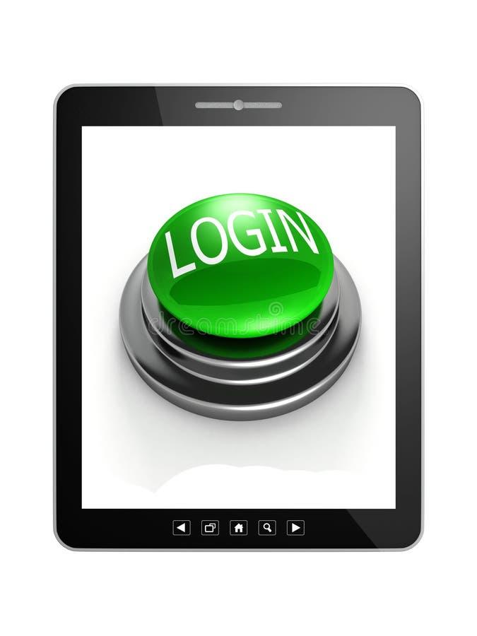 与绿色登录按钮的片剂个人计算机 皇族释放例证