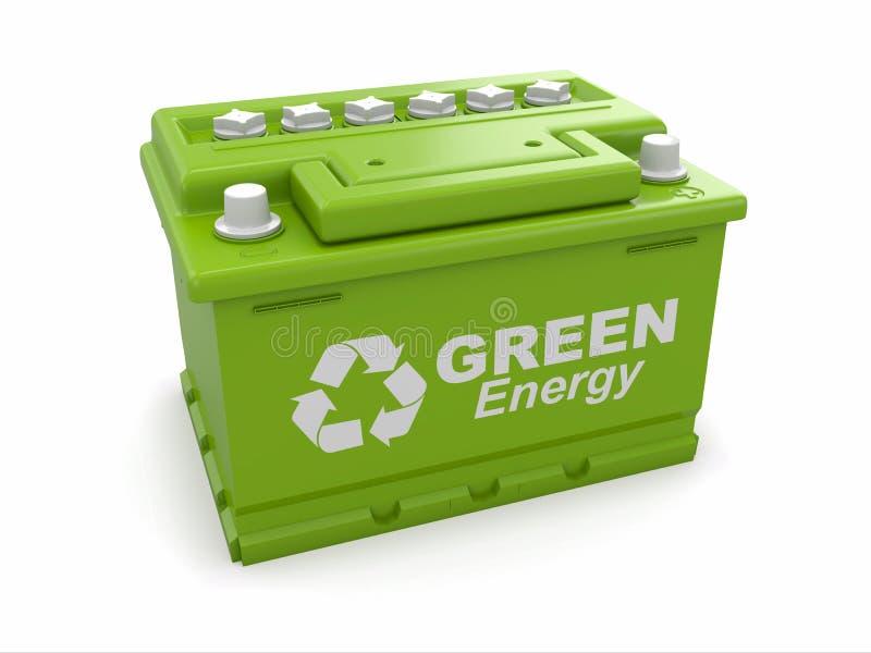 与绿色的汽车电池回收符号。 向量例证