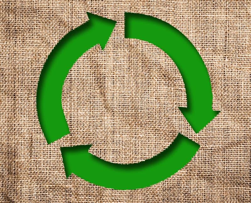 与绿色的老帆布回收标志 免版税库存照片