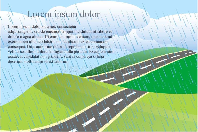 与绿色的风景背景愈合和灰色路,白色云彩,雨下落, Lorem Ipsum 库存例证