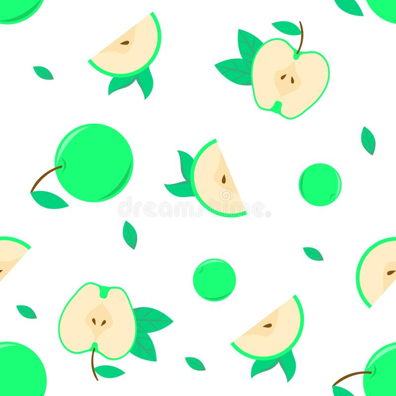 与绿色苹果传染媒介的无缝的样式背景另一件艺术品的或装饰背景 库存图片