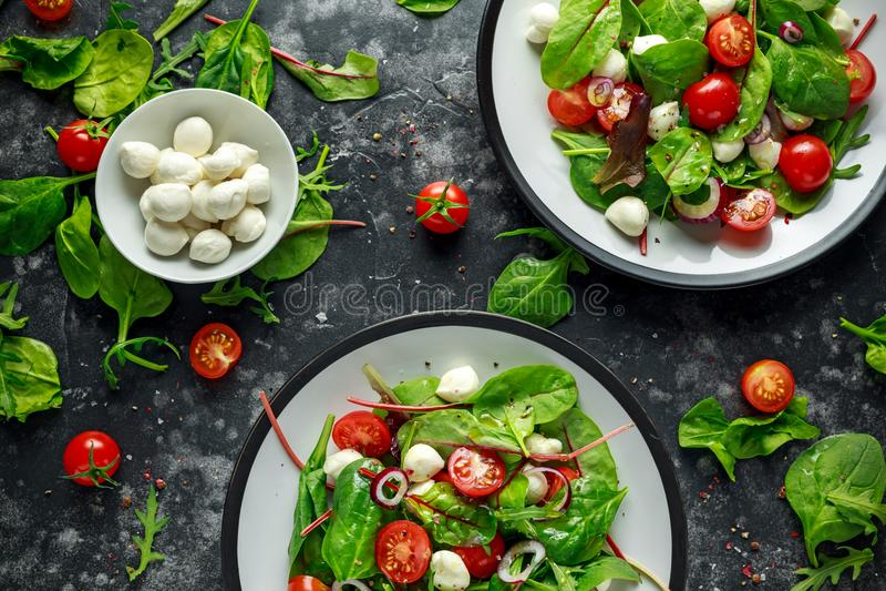 与绿色莴苣混合的新鲜的西红柿,无盐干酪沙拉和红洋葱 服务在板材 健康的食物 库存图片