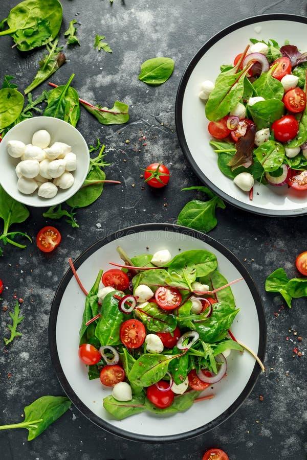 与绿色莴苣混合的新鲜的西红柿,无盐干酪沙拉和红洋葱 服务在板材 健康的食物 免版税图库摄影