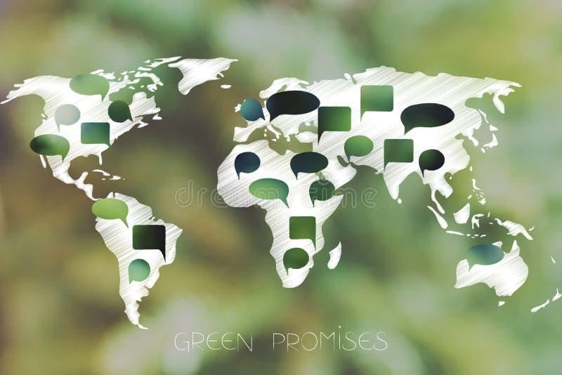 与绿色讲话的世界地图起泡代表环境 库存例证