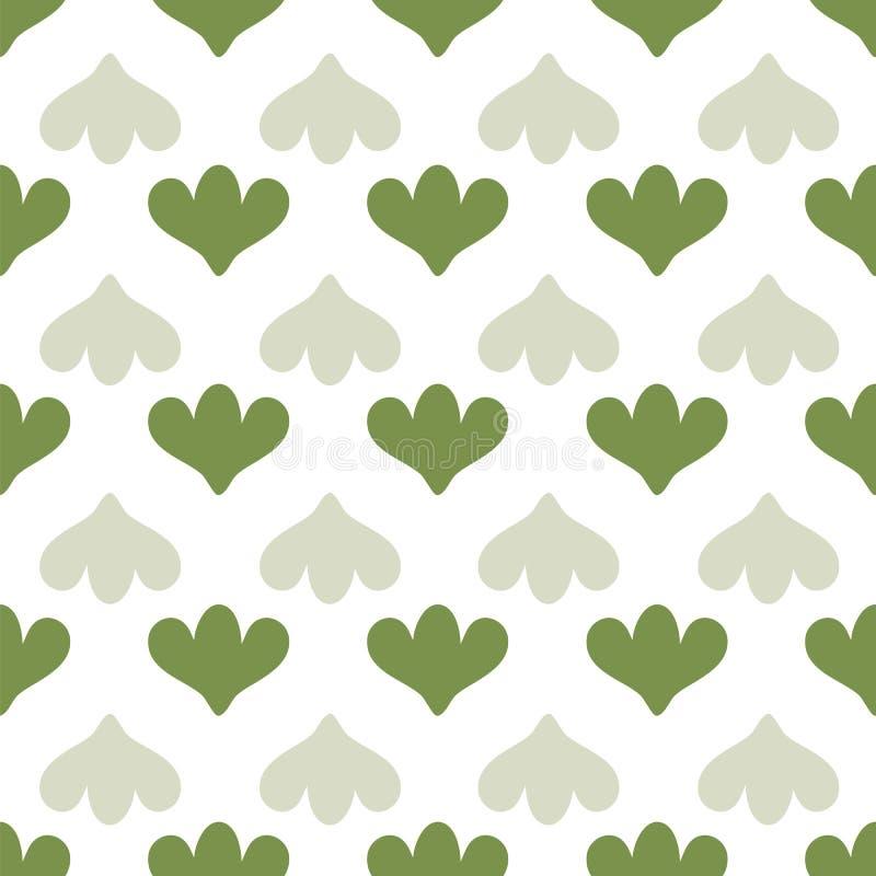 与绿色郁金香形状的简单的几何无缝的传染媒介样式在白色背景 向量例证