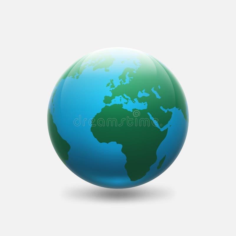 与绿色非洲大陆和欧洲的行星地球 皇族释放例证