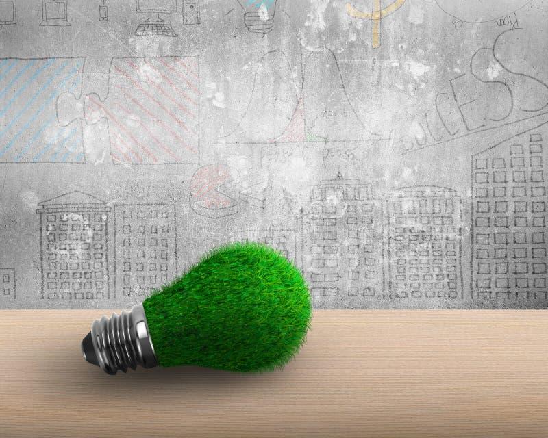 与绿草的电灯泡ECO概念的 向量例证