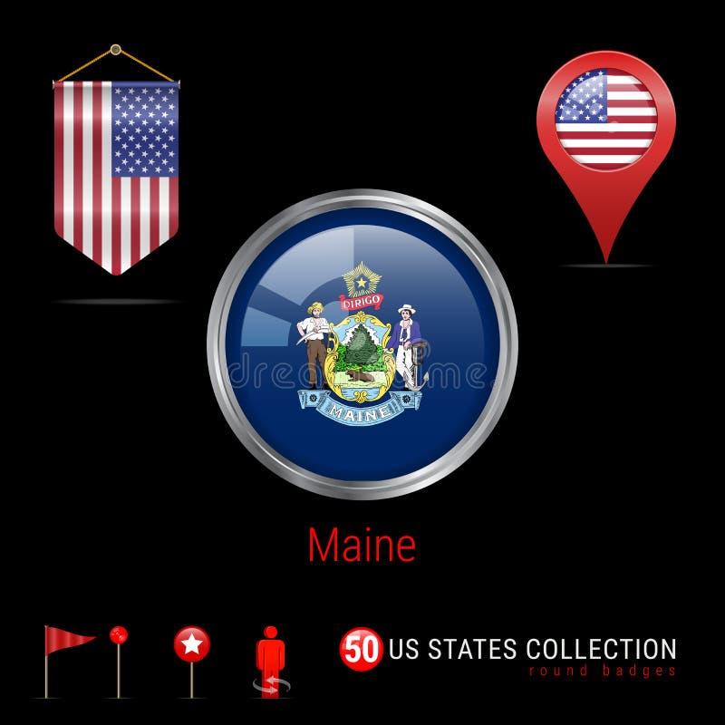 与缅因美国各州旗子的圆的镀铬物传染媒介徽章 美国的信号旗旗子 地图尖-美国 地图航海象 库存例证