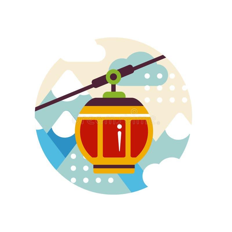 与缆车的旅游业标志在滑雪胜地、旅行商标设计、元素象征的或徽章传染媒介例证在a 皇族释放例证
