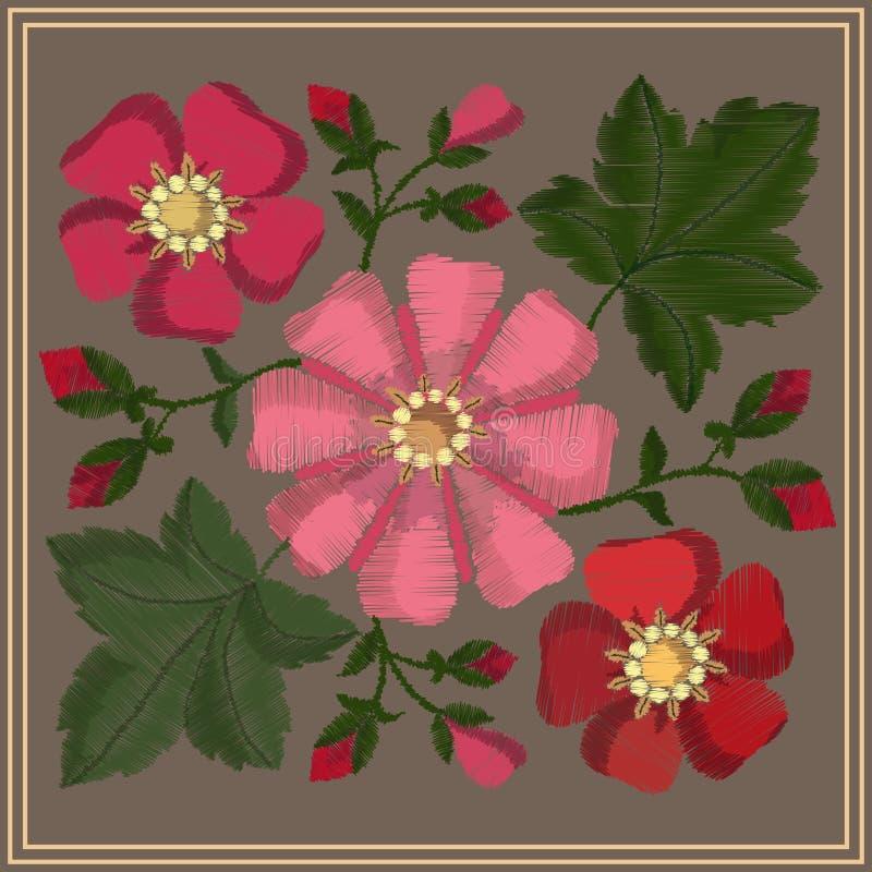 与缎缝的花、芽和冬葵叶子的被绣的样式 ?? 向量例证