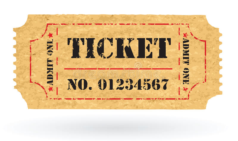 与编号的老向量葡萄酒纸张票 皇族释放例证