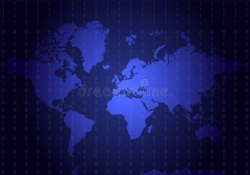 与编码号的蓝色地理地图 所有大陆:亚洲, E 皇族释放例证