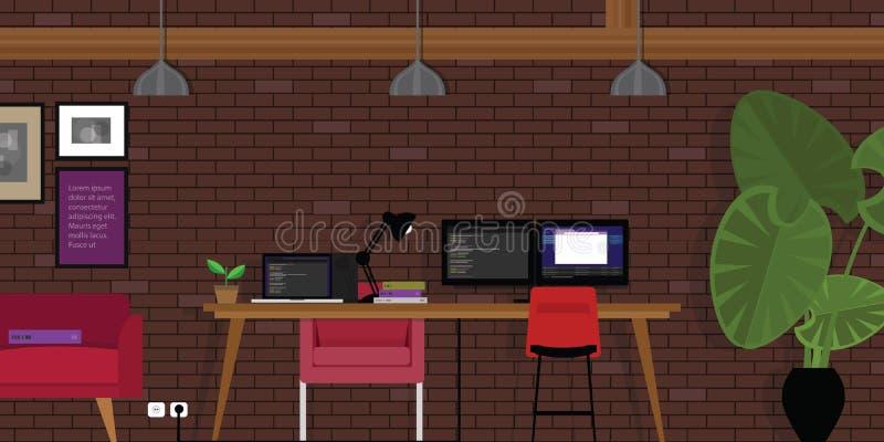 与编程的编制程序书桌和砖的起动开放工作区共同工作的办公室工业样式 皇族释放例证
