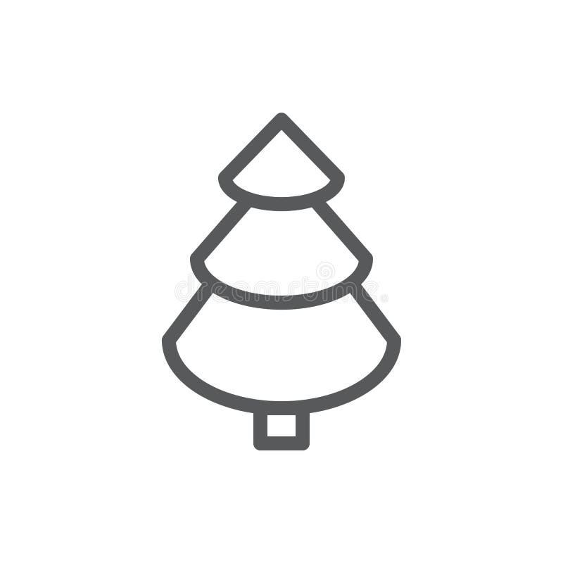 与编辑可能的冲程传染媒介例证-常青松树概述标志的云杉的线象自然设计的 库存例证