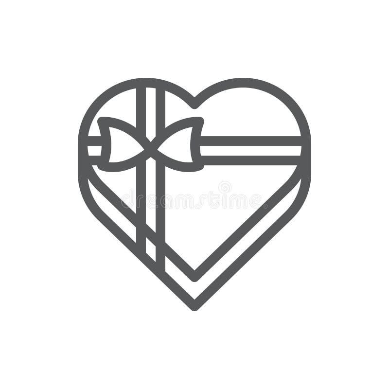 与编辑可能的冲程-装饰的浪漫被包裹的当前包裹的被隔绝的传染媒介例证的心形的礼物盒线象 向量例证