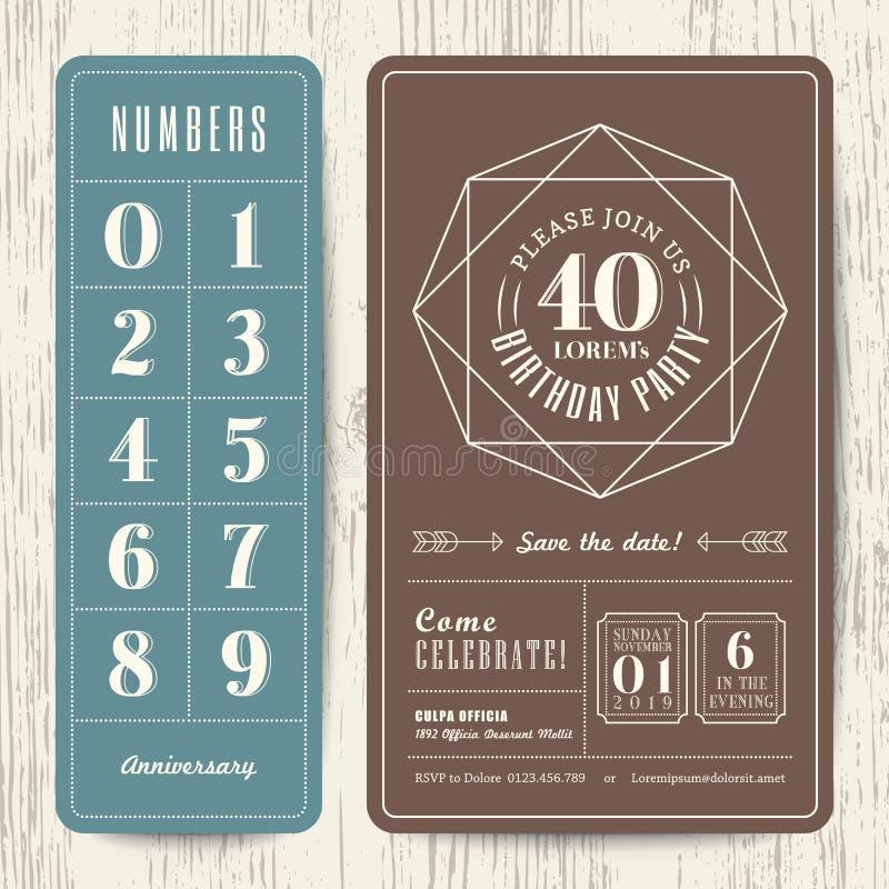与编辑可能的数字的减速火箭的生日聚会邀请卡片 库存例证