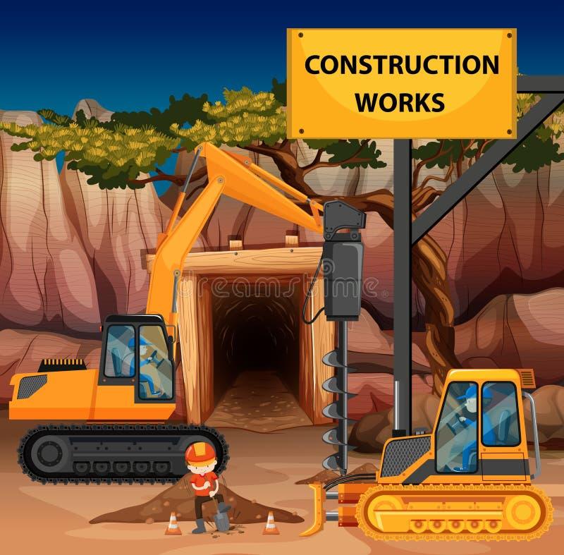 与缵孔者和推土机的建筑工作场面 皇族释放例证