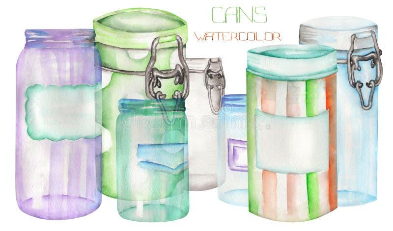 与罐和玻璃瓶子的一个例证 绘手拉在水彩 向量例证
