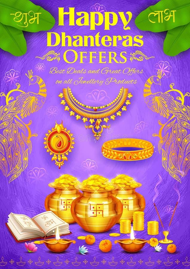 与罐的金黄diya在愉快的屠妖节Dhanteras背景的神硬币 皇族释放例证