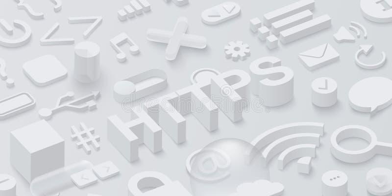 与网标志的灰色3d htpps背景 库存例证