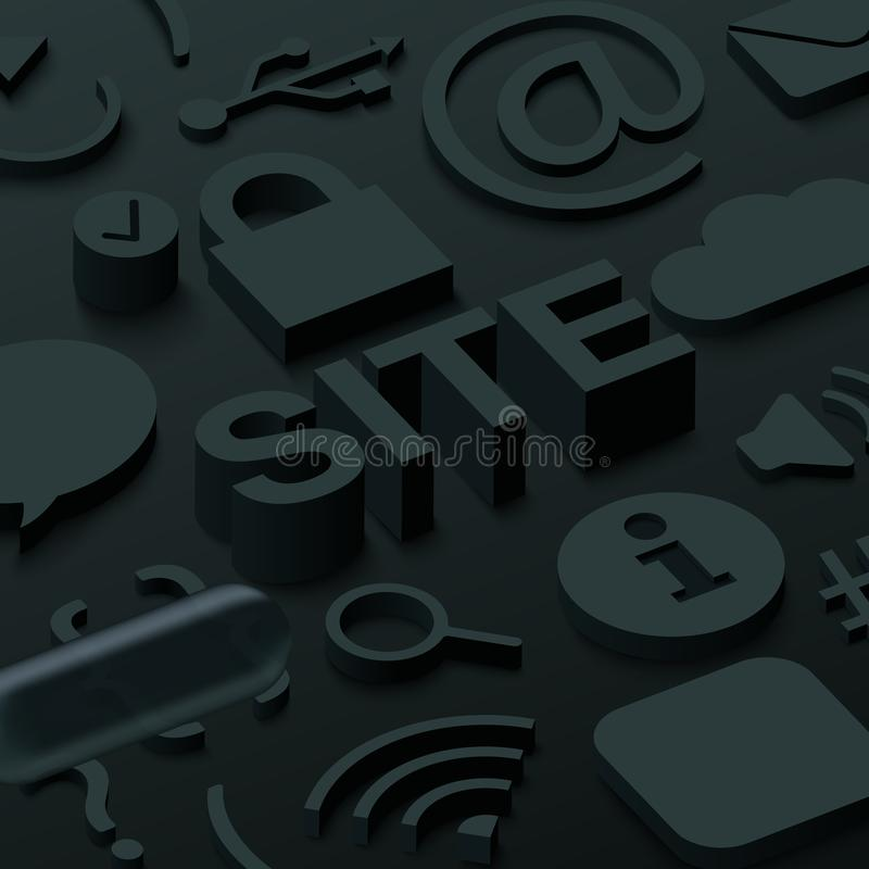 与网标志的黑3d站点背景 向量例证