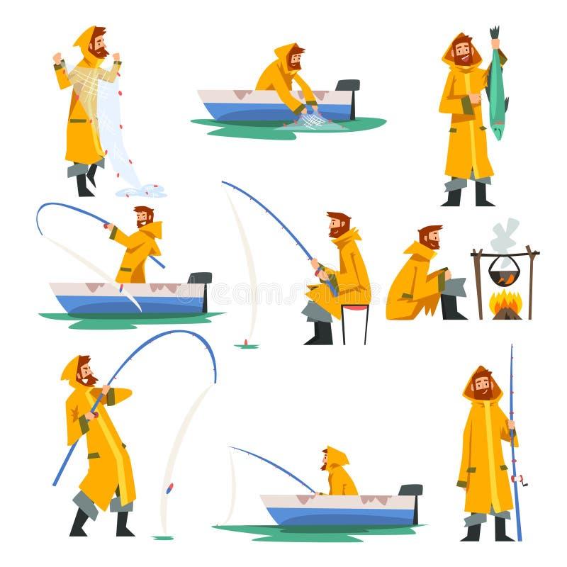 与网的渔夫在小船,烹调在篝火传染媒介例证的人的钓鱼和钓鱼竿 皇族释放例证