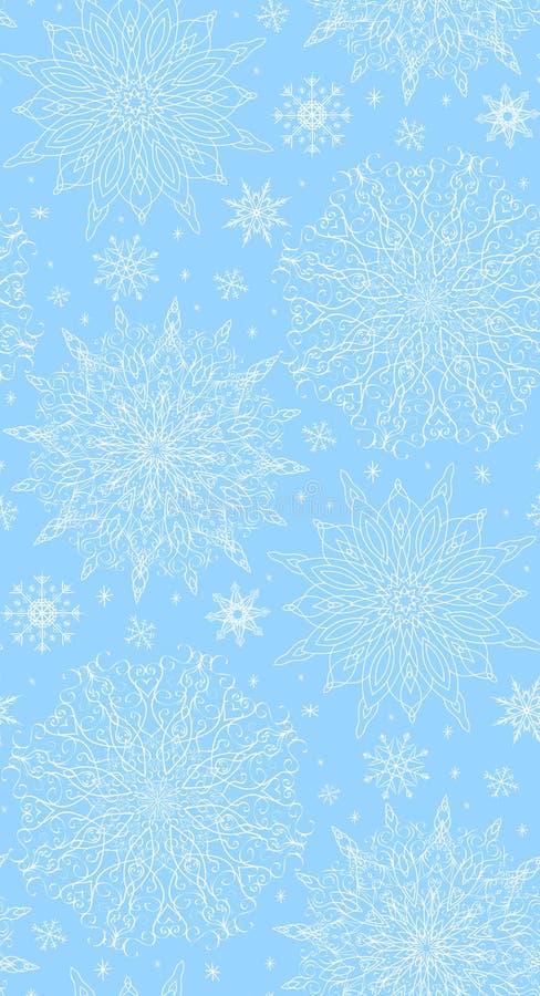 与网眼图案冬天雪花的无缝的纹理 向量例证