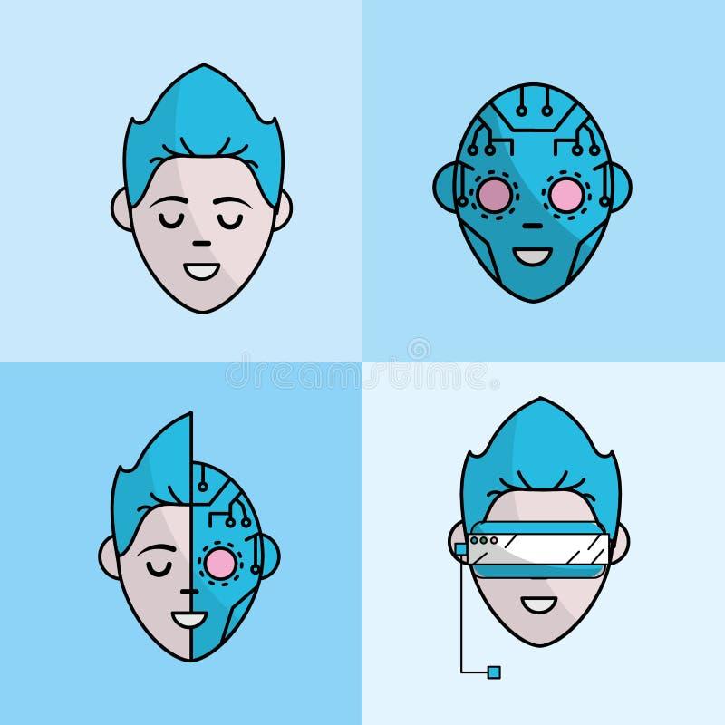 与网际空间的集合真正男孩面孔连接 向量例证