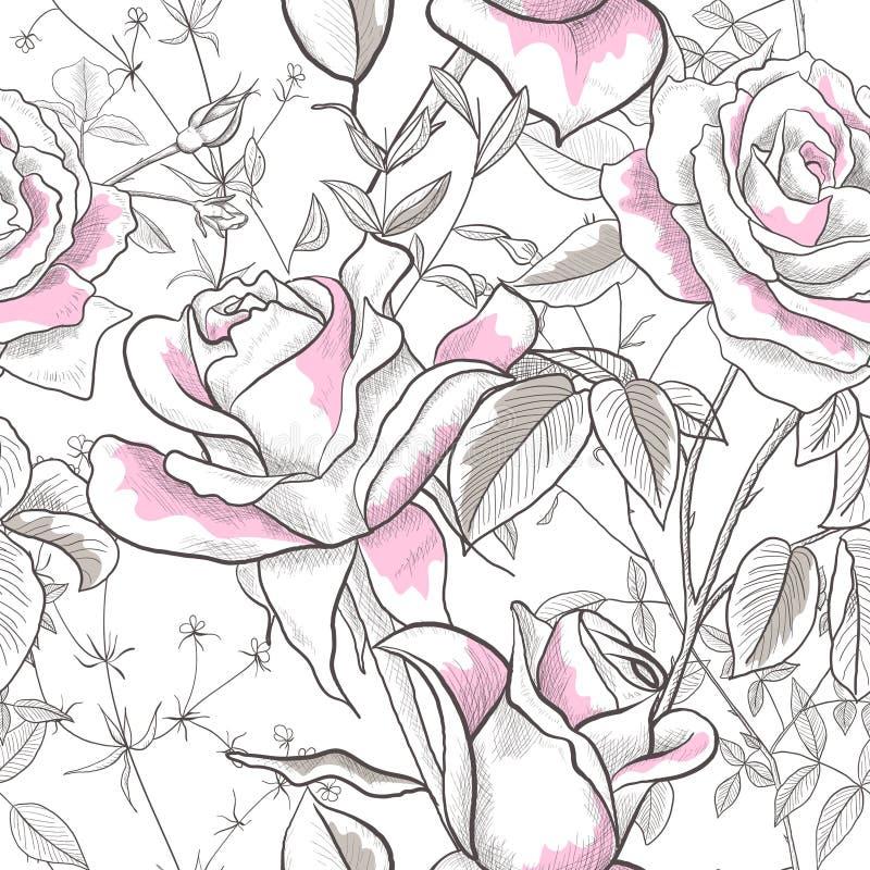 与罗斯、叶子和芽的无缝的样式在白色背景 纸的,墙纸,盖子现代抽象设计 向量例证