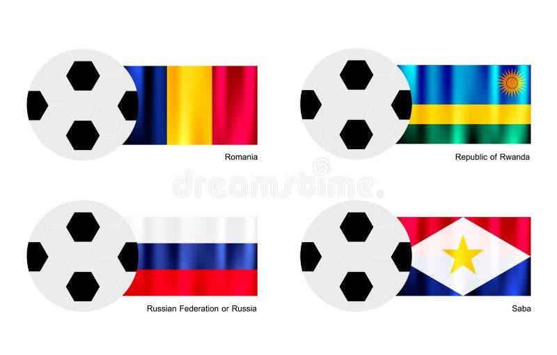 与罗马尼亚、卢旺达、俄罗斯和Saba的足球  向量例证