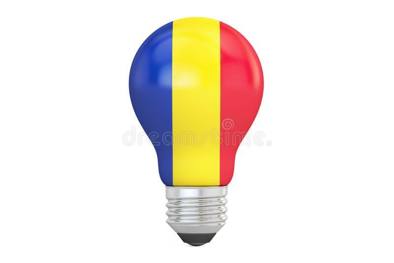与罗马尼亚旗子, 3D的电灯泡翻译 向量例证