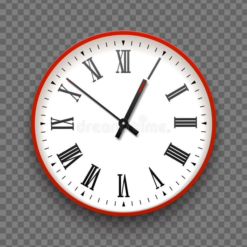 与罗马数字的红色和白色墙壁办公室时钟象 设计模板传染媒介特写镜头 烙记的大模型和做广告 皇族释放例证