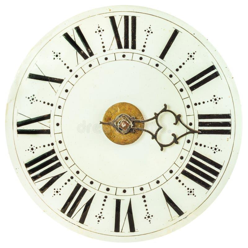 与罗马数字的老时钟表盘 图库摄影