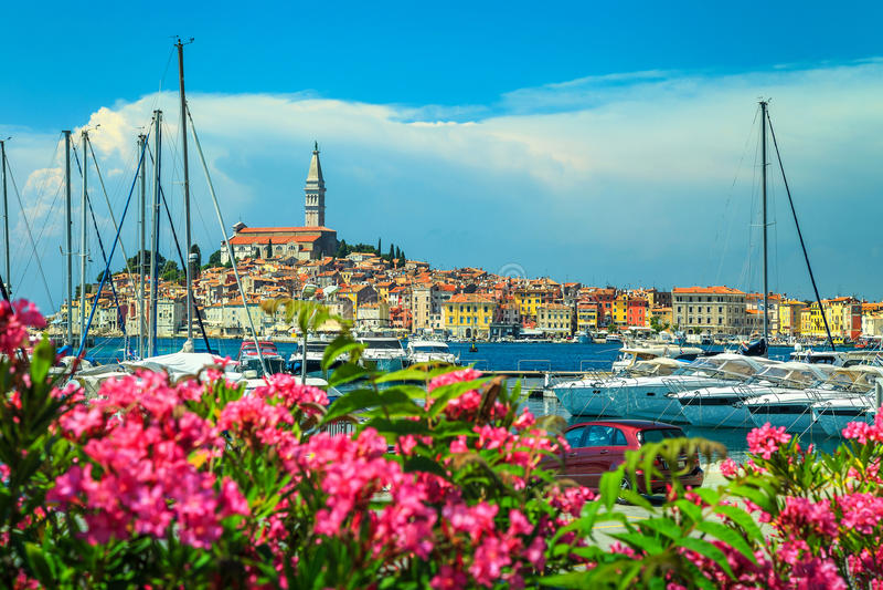 与罗维尼老镇的美妙的都市风景, Istria地区,克罗地亚,欧洲 免版税库存照片