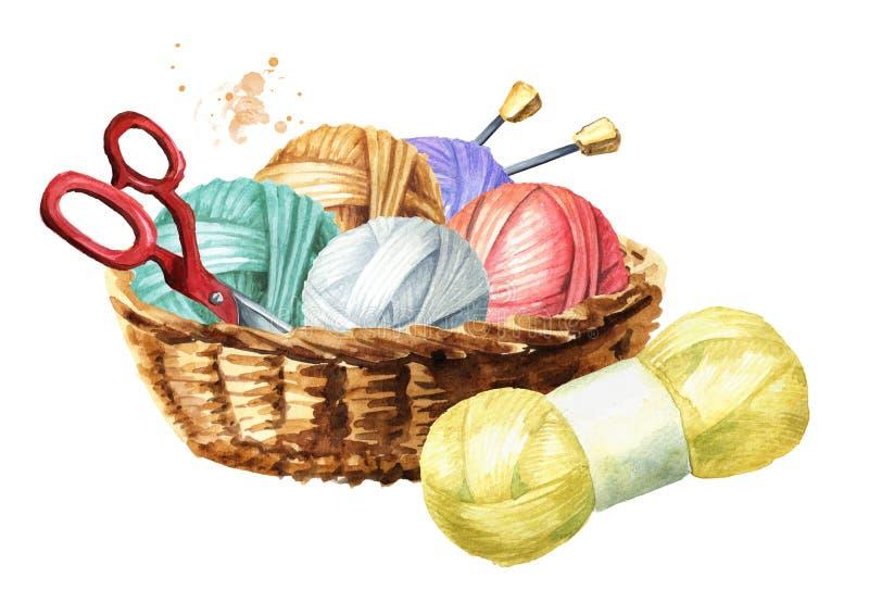 与羊毛、剪刀、毛线编织针和丝球球的篮子  手工编织的概念 手拉的水彩 库存例证